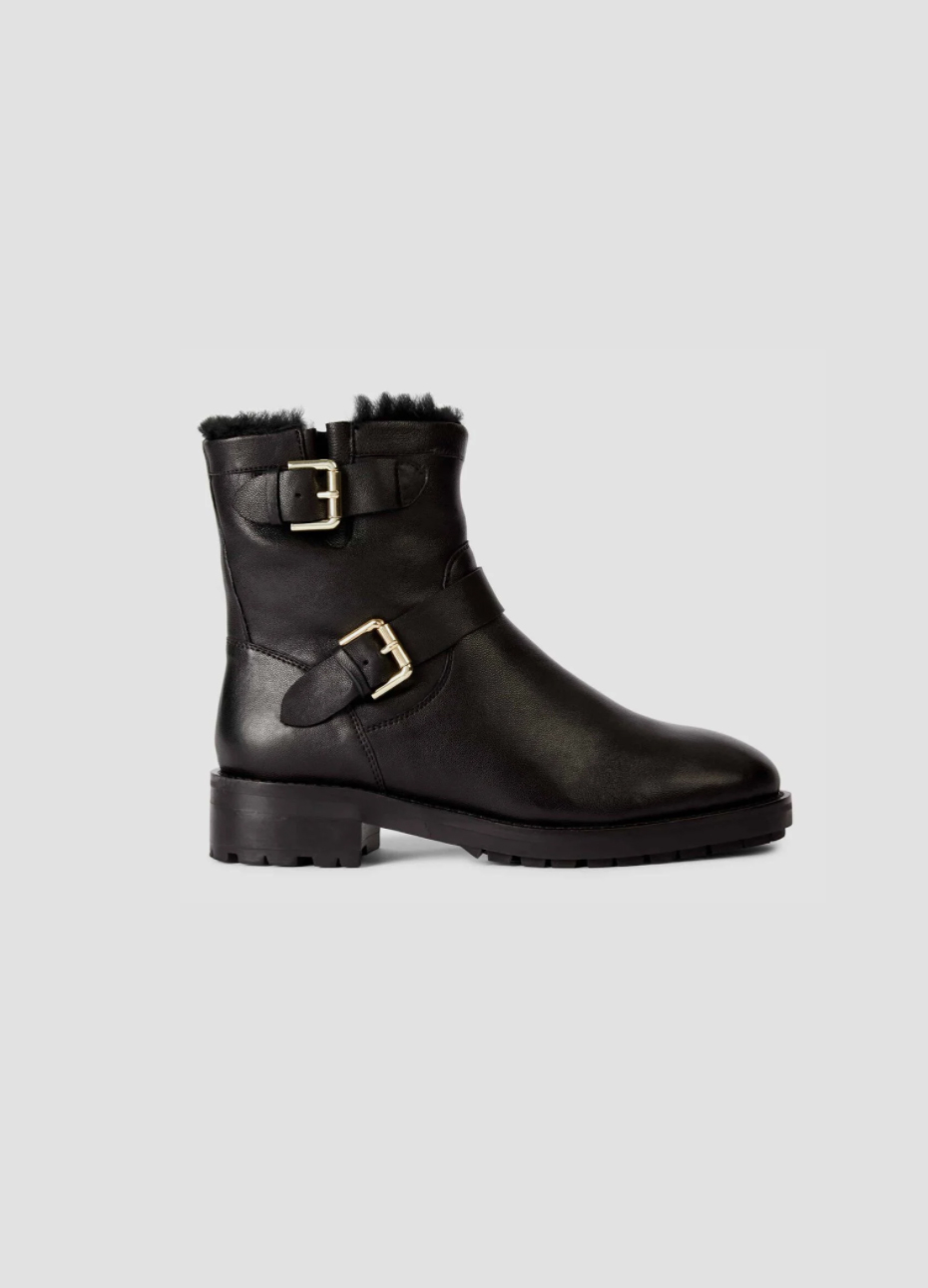 Women's flat leather boot with a buckle design from Hobbs.