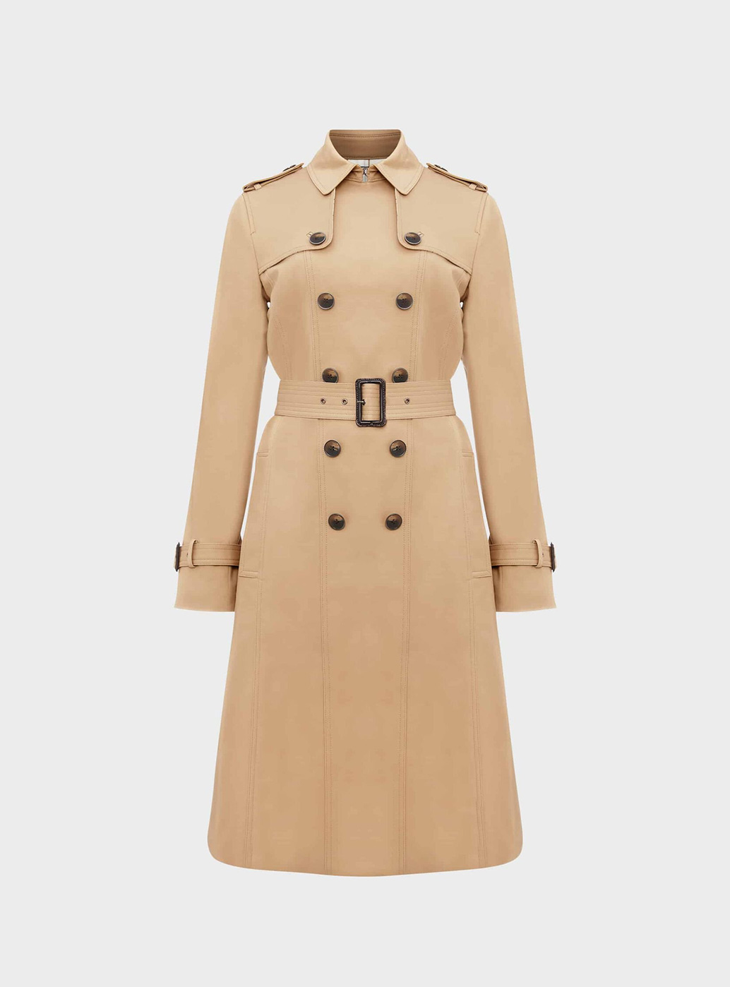 Hobbs Sofia Camel Double Breasted Wool Trench Coat