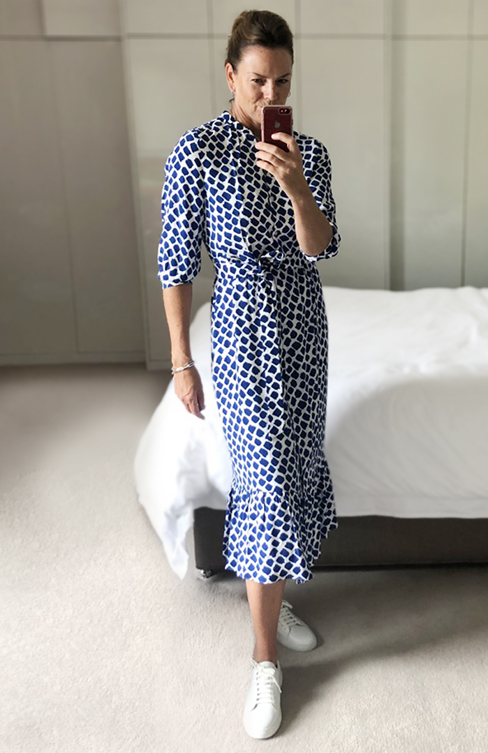 Sally shows us how to style a blue and white shirt dress whether staying in or socialising.