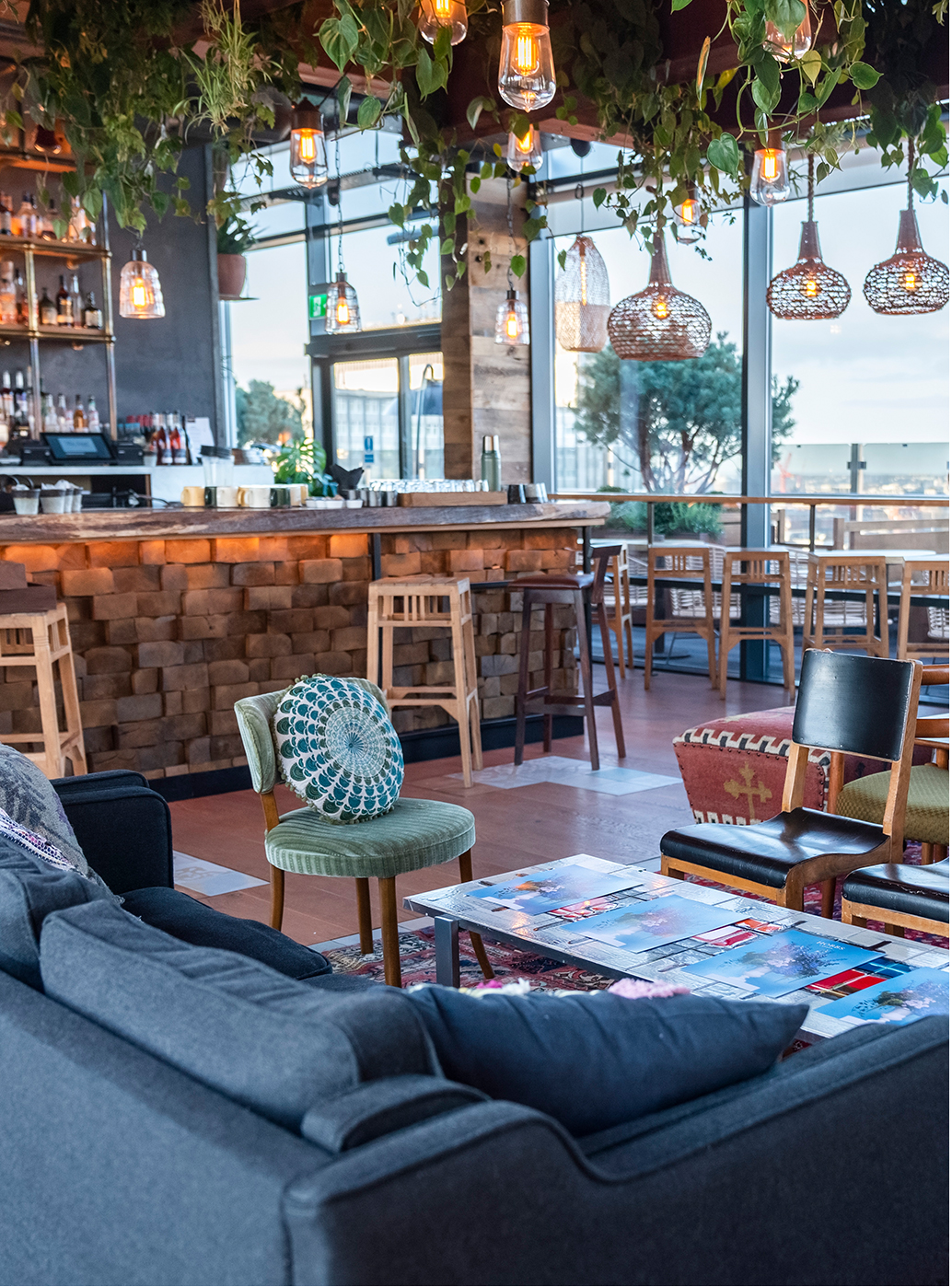 The bohemian inspired interior of rooftop London restaurant, The Nest.