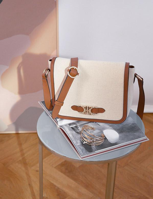 White Canvas Shoulder Bag