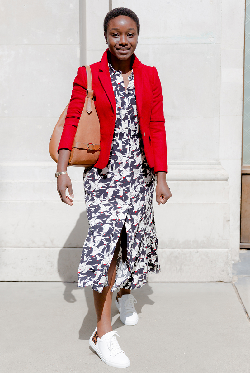 Hobbs red autumn winter wool jackets and blazers styled with a shirt dress and leather trainers