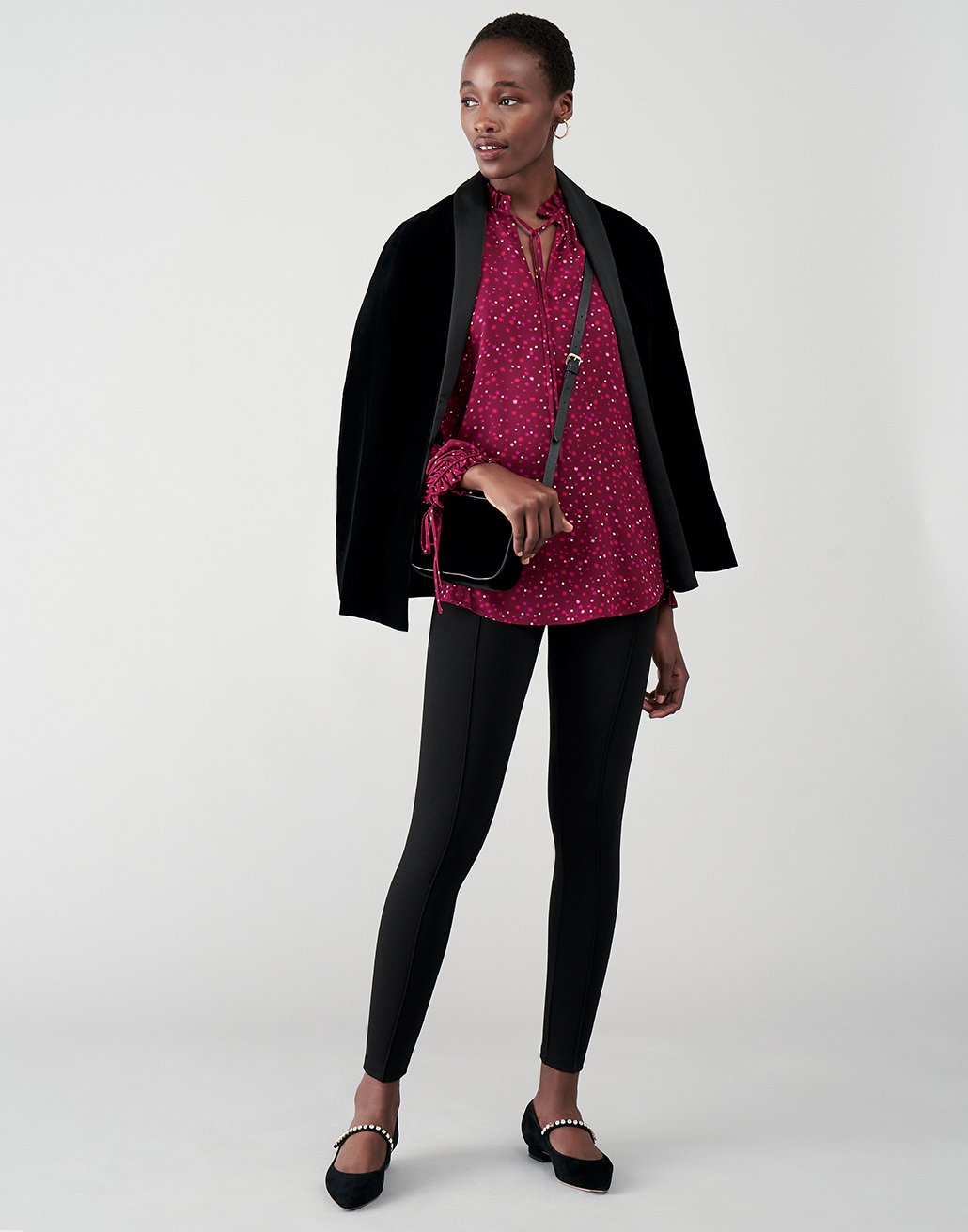 Purple Printed Blouse With Jacket