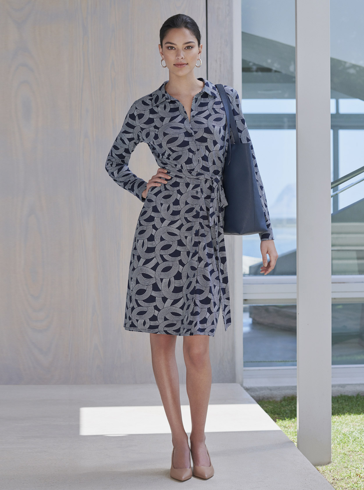 Patterned shirt dress in navy and ivory for smart casual dressing or for work, worn with nude court shoes, black leather tote and hoop earrings from Hobbs.