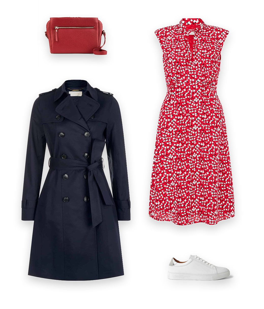 A timeless trench coat outfit, styles a classic Hobbs navy blue trench coat with a ared floral dress, white leather trainers and a red leather drocc body bag.