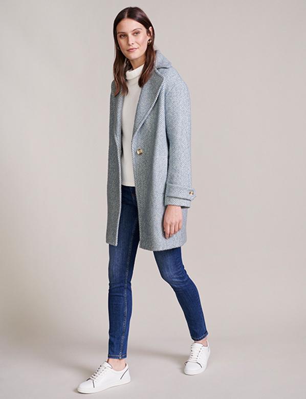 Petite Pale Blue Spring Coat
