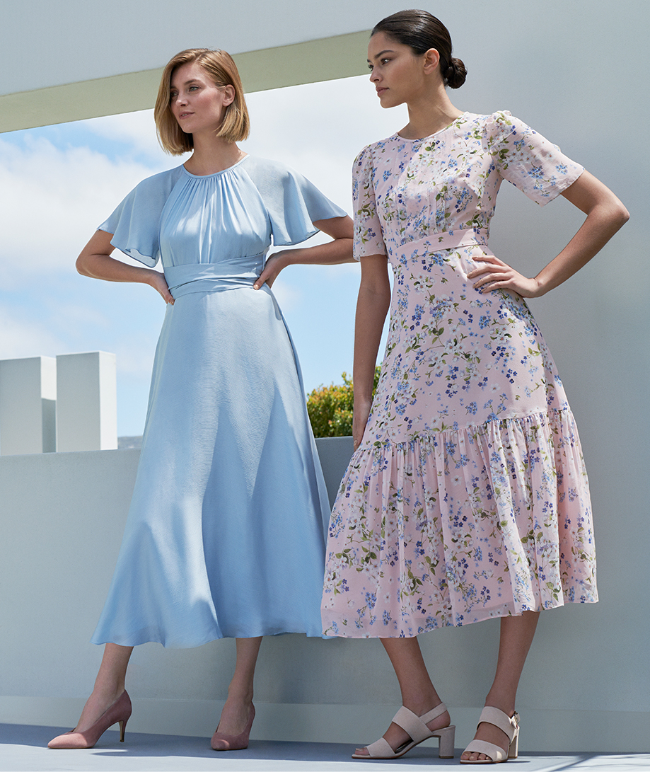 Satin occasion dress in pale blue and pink midi length floral occasion dress by Hobbs.