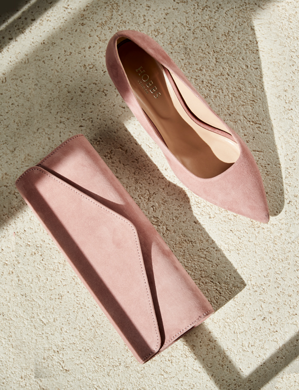 Pink suede courts and matching clutch bag