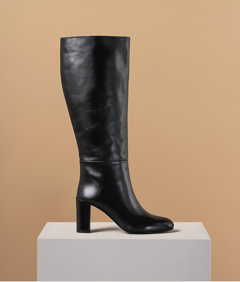 Long Black Leather Knee Boots