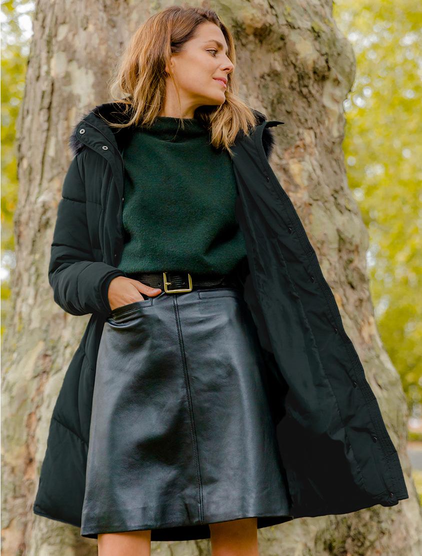 hobbs lettie dark green puffer jacket