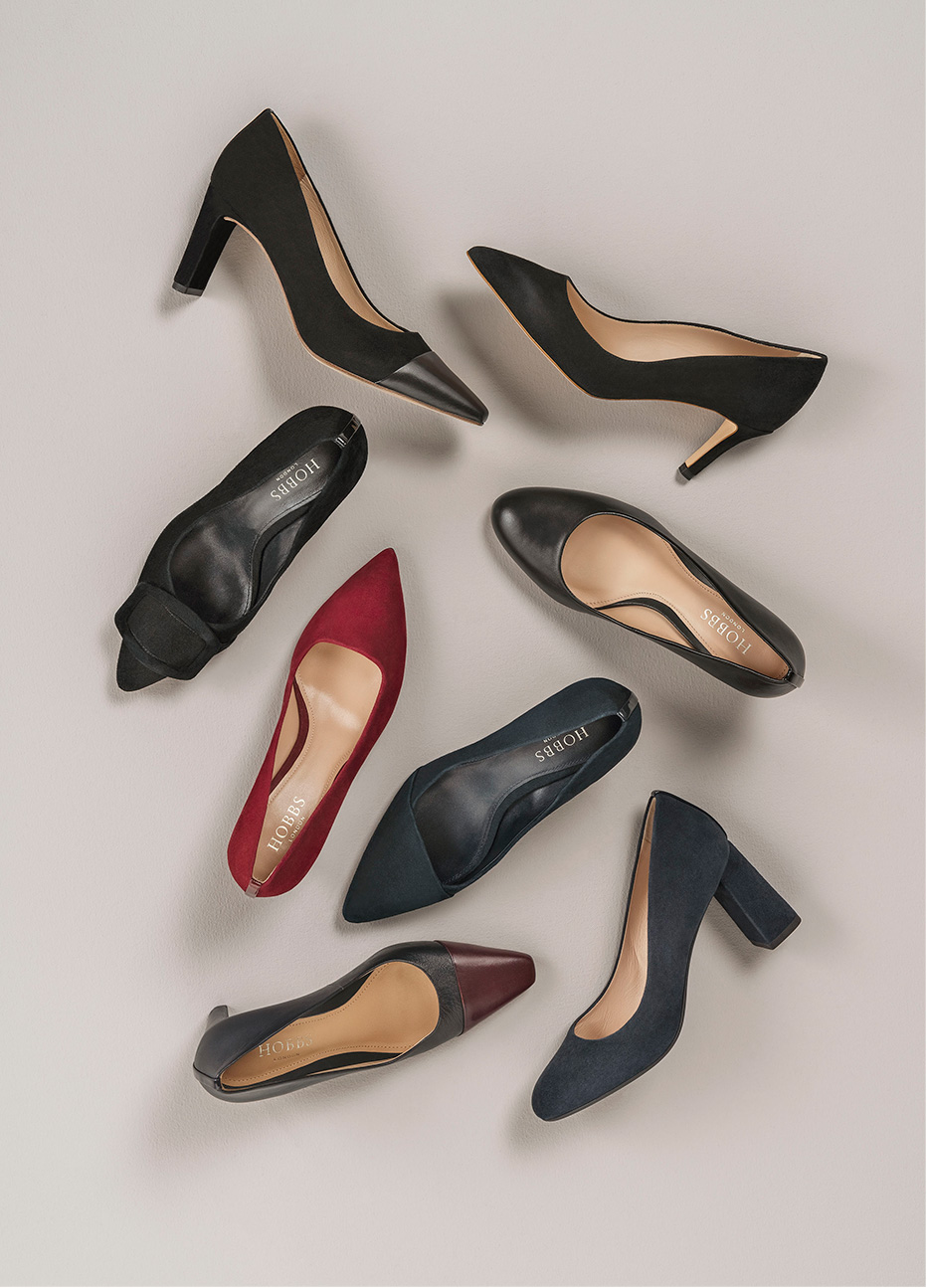 Hobbs new Autumn WInter collection of premium leather and suede court shoes
