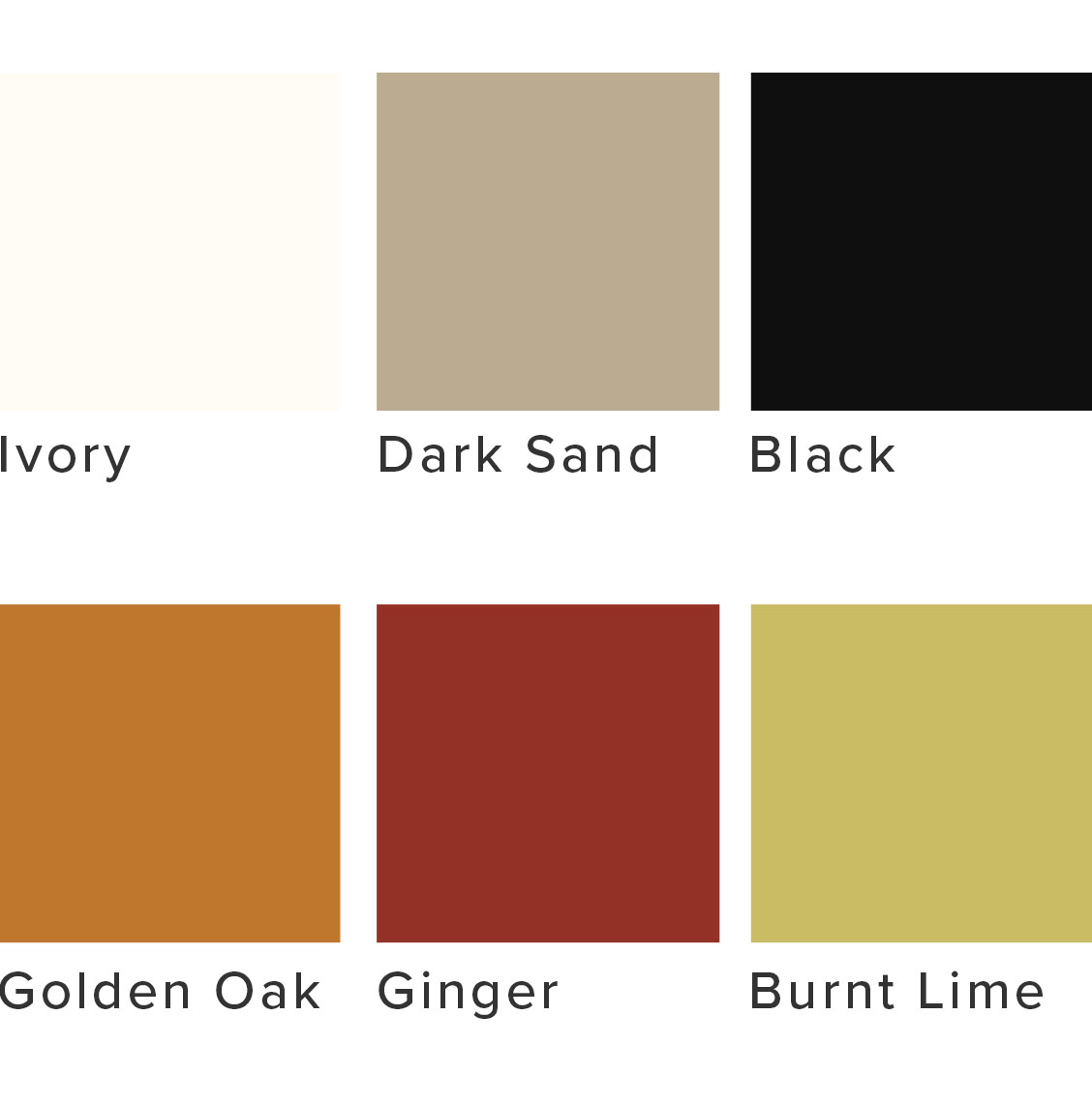 Colour palette including ivory, orange, rust red and black.