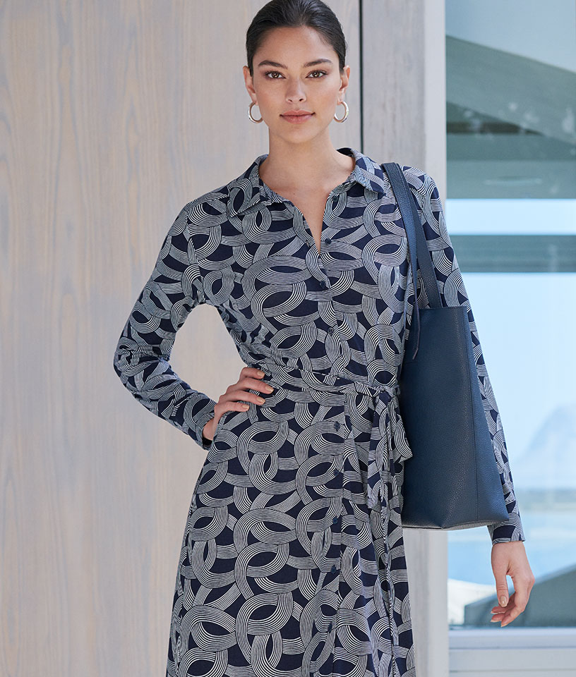 Grey Patterned shirt dress