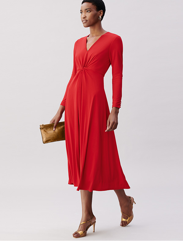 Red Fit and Flare Jersey Midi Dress with Gold Wristles and Sandals