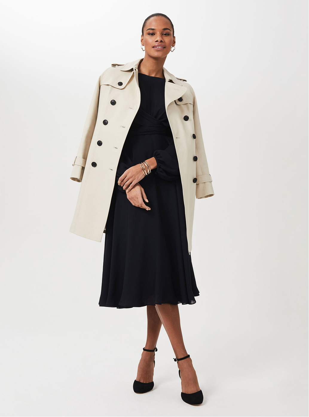 Model wearing Saskia Trench coat.
