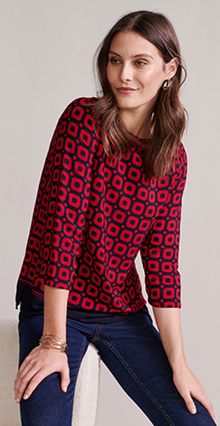 Red and Navy Geo Print Blouse