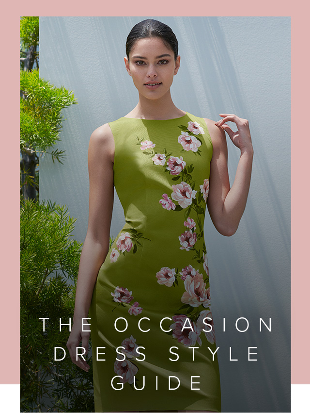 Shift dress in spring green with pink floral details by Hobbs.
