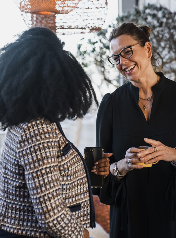 Sally in conversation at a Hobbs Influencer event