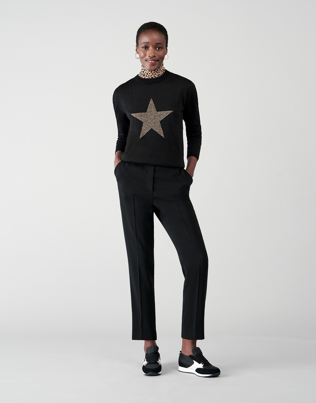 Black Jumper with Gold Sparkle Star