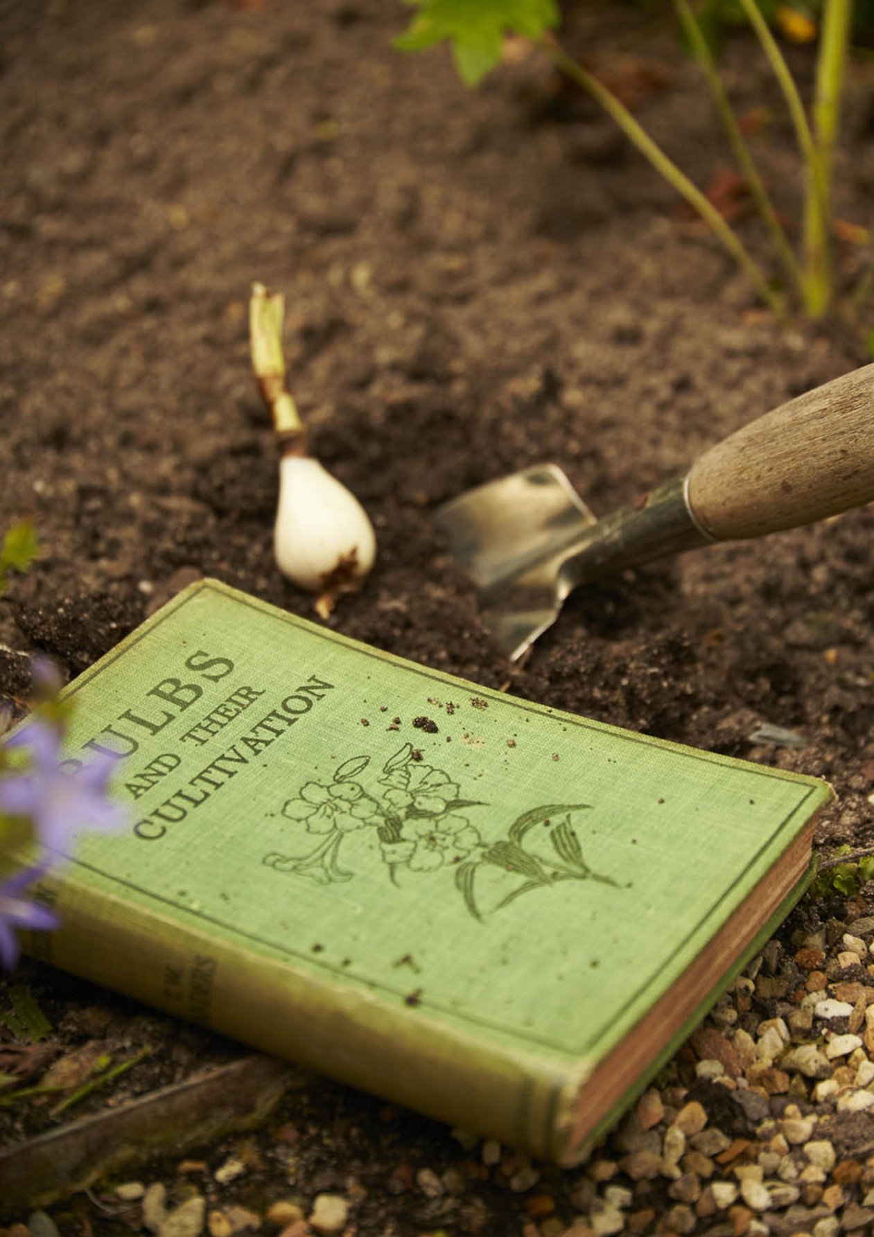 A green gardening book likes in the soil next to a trowel