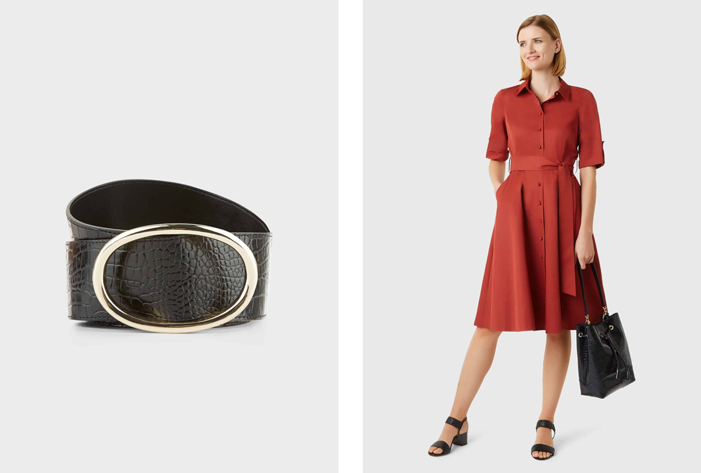 The right shows a mid-sleeved shirt dress in red with a waist-tie detail worn with heeled sandals in black and leather tote bag in black. Add a smart belt such as the one shown on the left which is a black leather belt with an embossed snake print and gold buckle to add some definition. All from Hobbs.