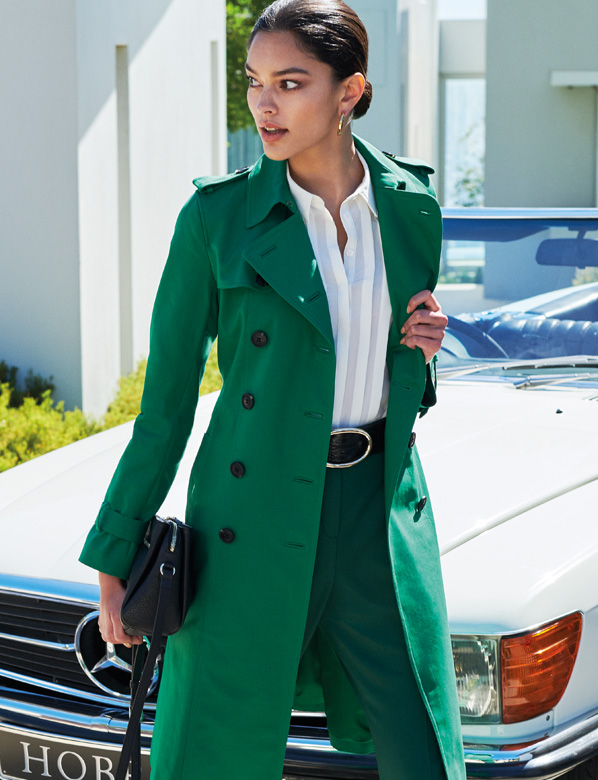 Green Saskia Trench Coat