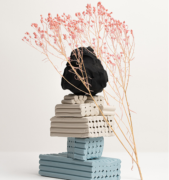Air Dry Clay Modelling, A stack of white and blue clay
