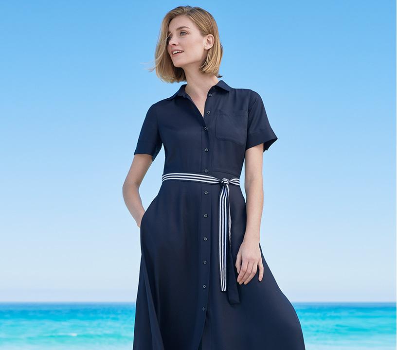 Navy Summer Shirt Dress with Striped Belt