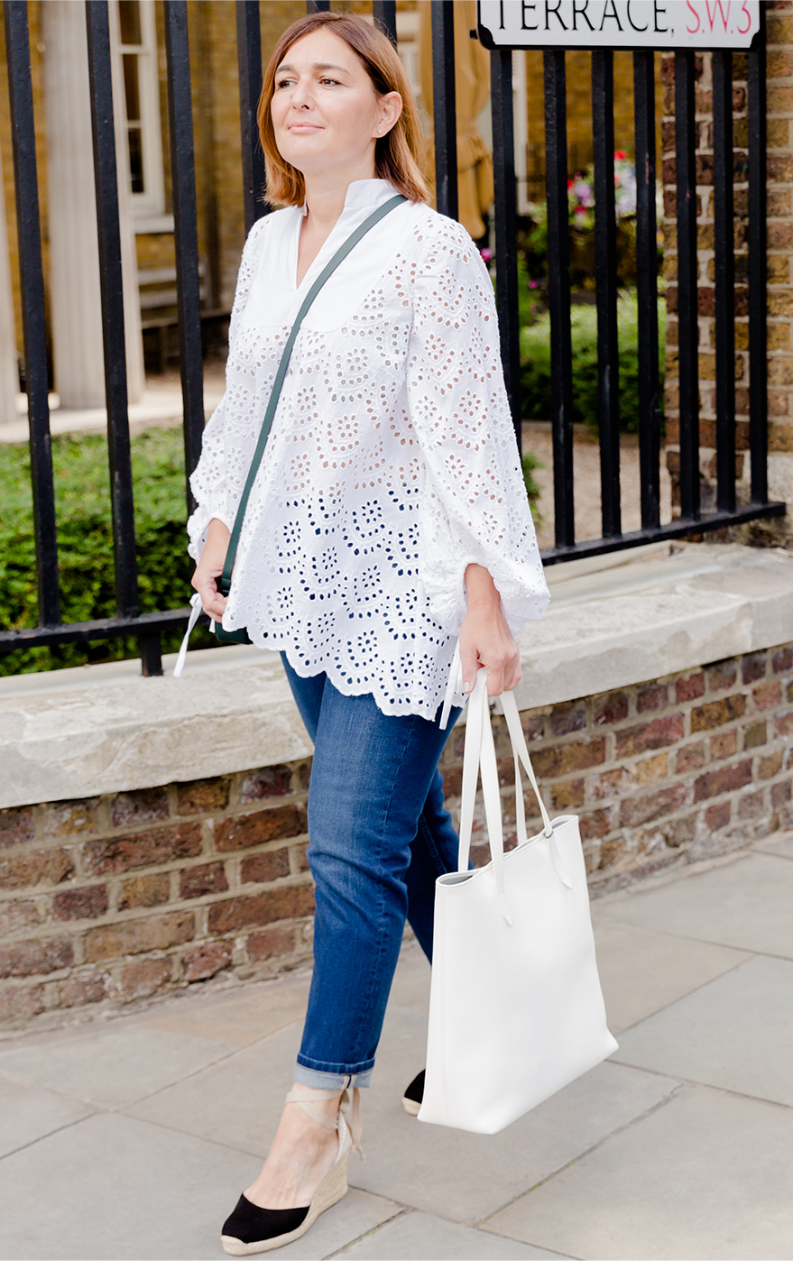 Hobbs UK & International Visual Specialist, Selena Trkuljia, photographed wearing a white blouse with blue denim jeans, black espadrilles, green crossbody bag and a white tote bag.