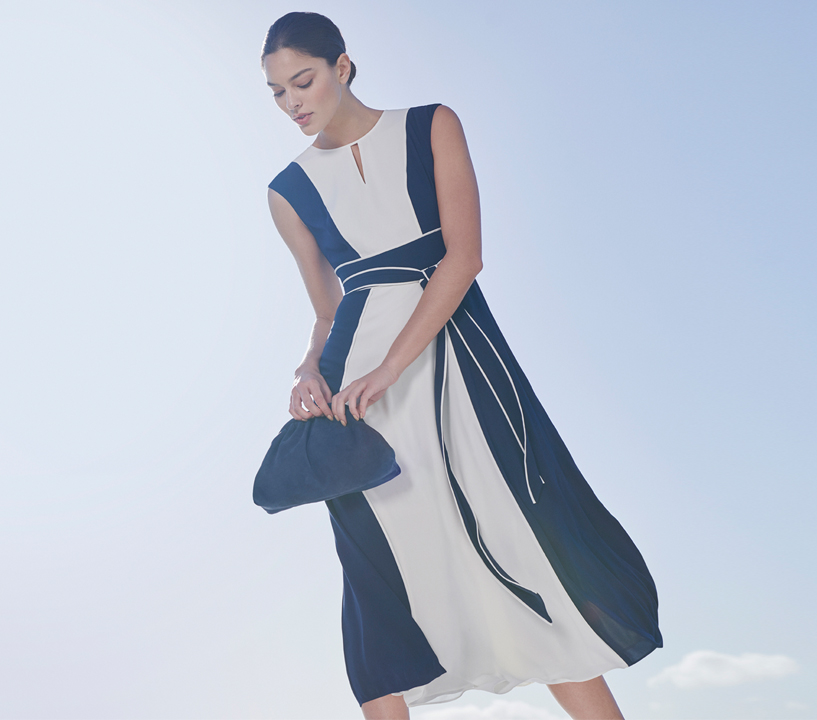 Formal Fit and Flare Navy and Ivory Colour Block Dress