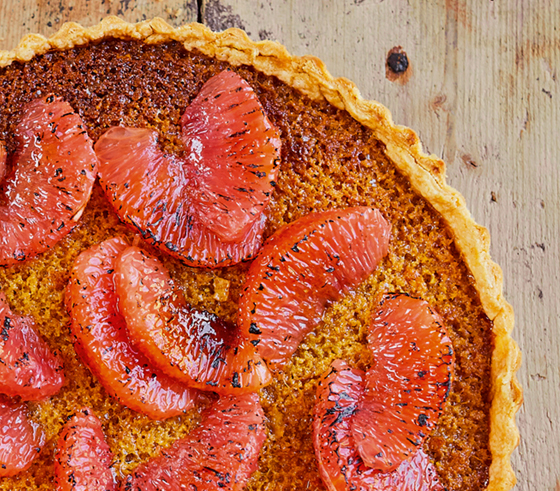 Detail shot of Prue's Grapefruit Treacle Tart
