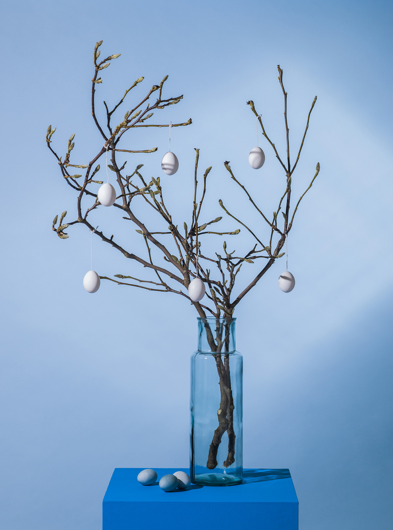 Easter themed, blue still life with branches and easter egg decoration