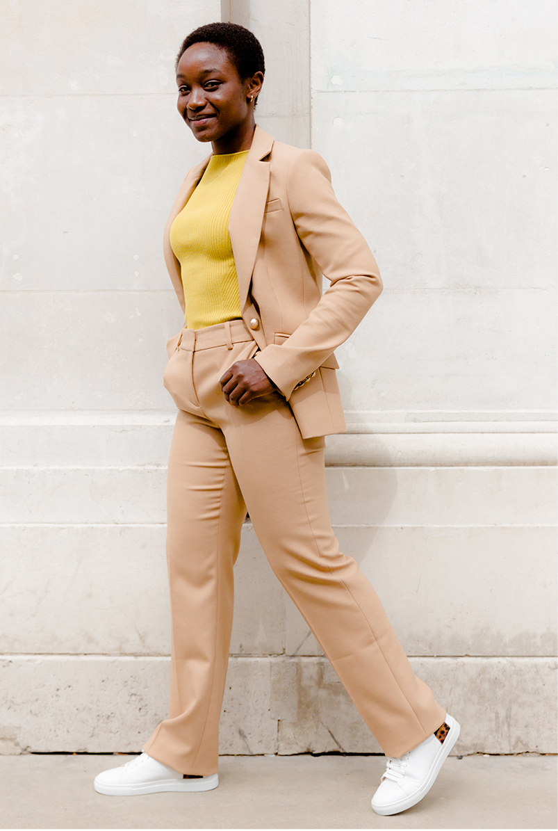 hobbs laurel camel wool blend blazer styled matching camel trousers, a yellow knit and white leather trainers