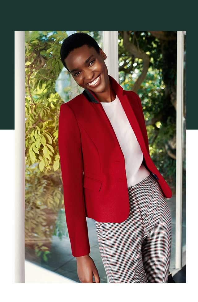 Red Tweed Jacket and white t-shirt on checked Traousers
