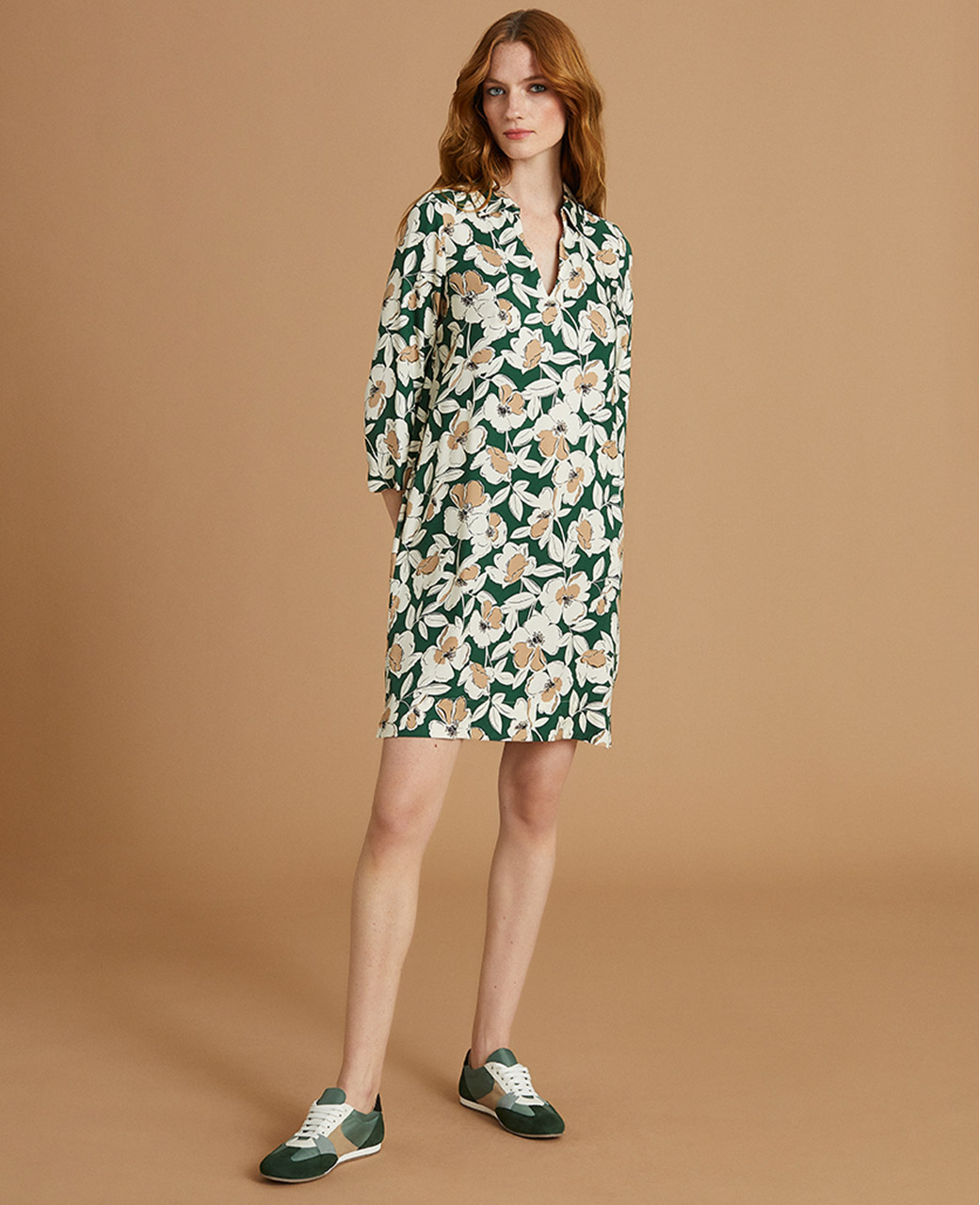 Green Floral Print Tunic Dress Outfit