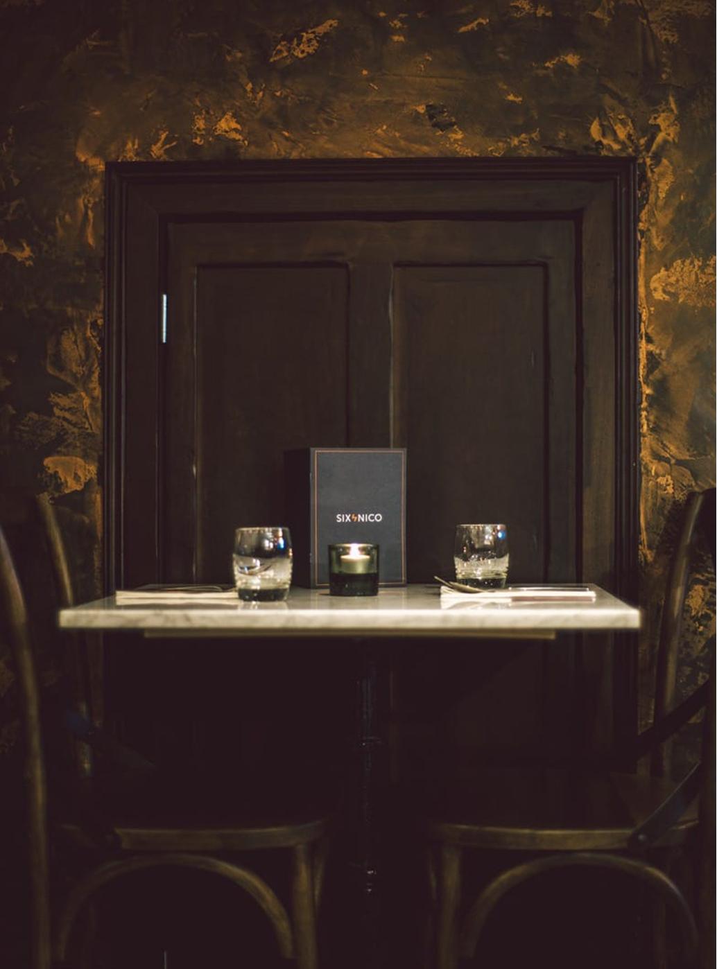 The moody interior of Six by Nico restaurant in Edinburgh