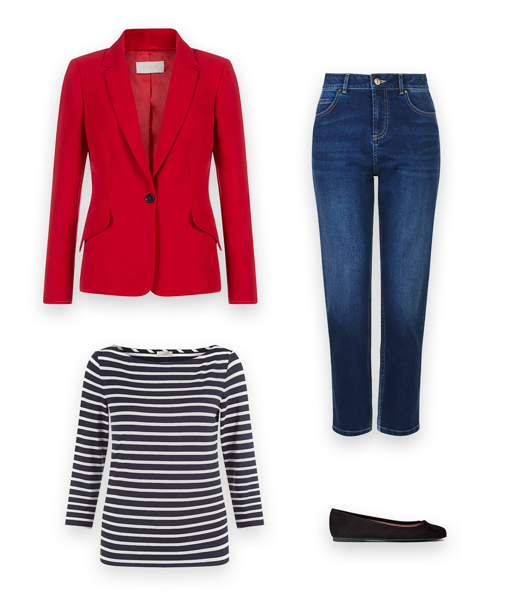 A versatile blazer is a invaluable wardrobe addition, a Hobbs red jackets styled with a classic navy blue and white breton top with blue denim jealsn and dark blue leather flat shoes