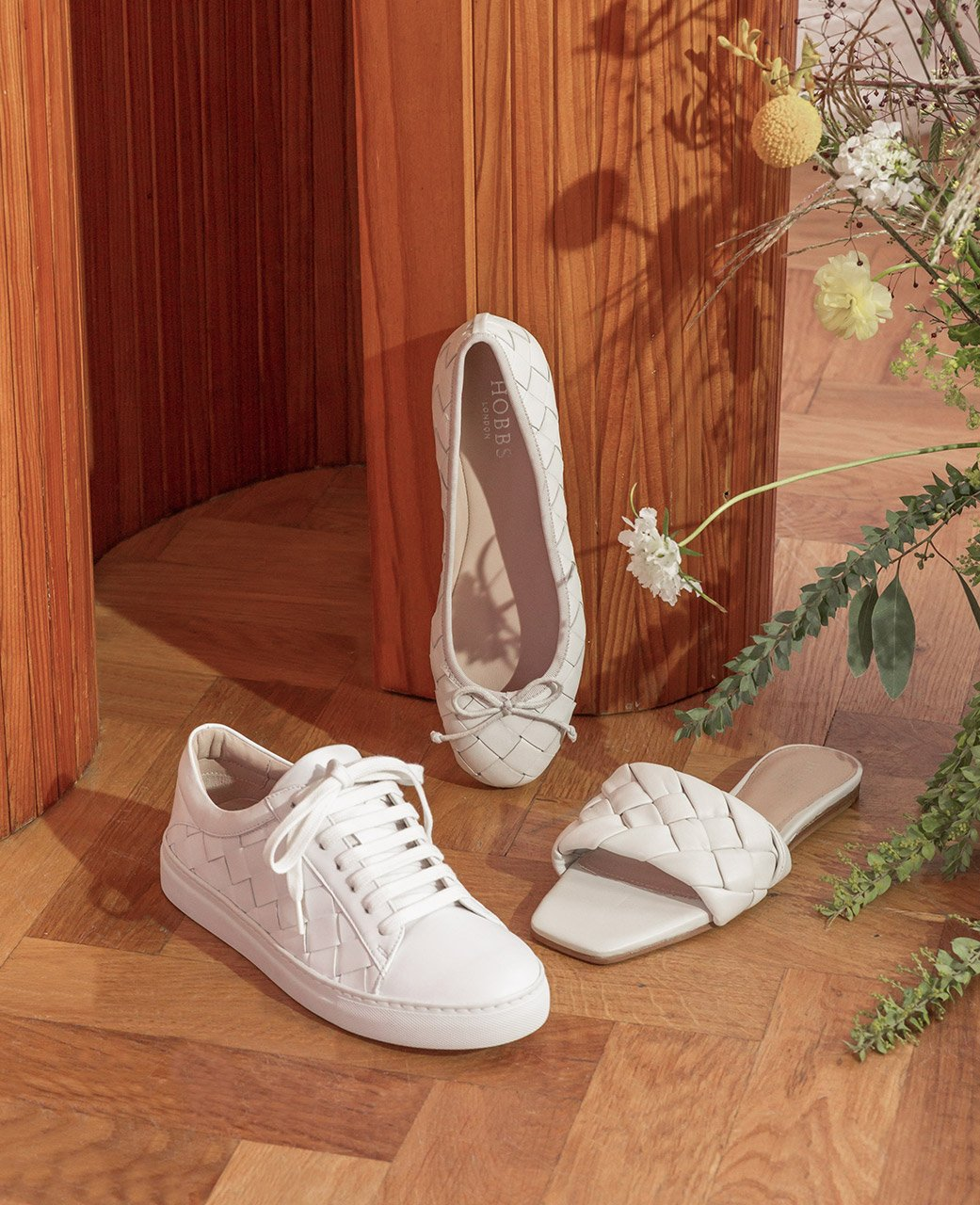 Woven Leather White Trainers, Ballerina and Sandal