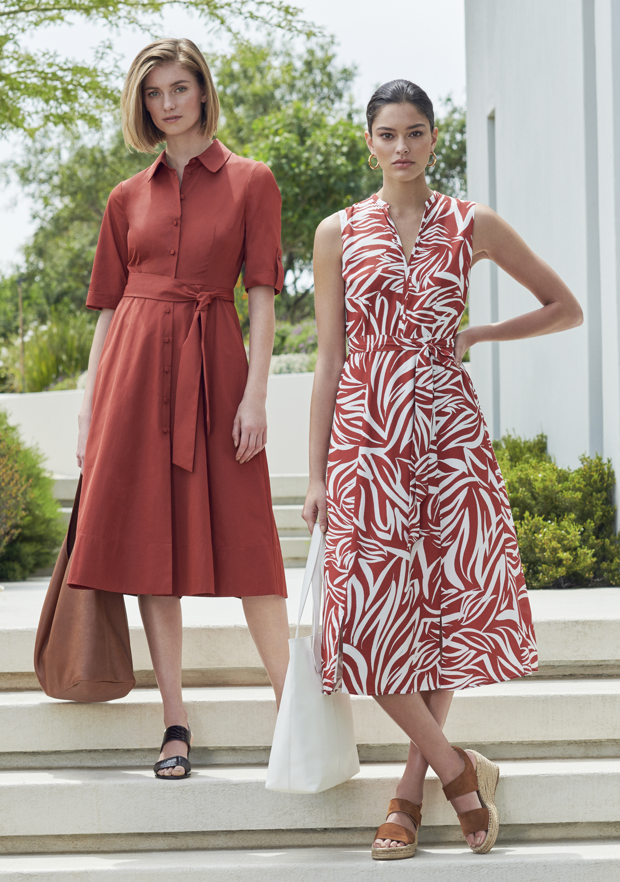 The left outfit shows a midi-length shirt dress in rust orange paired with a brown women's bag and black sandals. The right outfit shows a sleeveless midi dress in a zebra print in red and white with a waist-tie detail paired with a white tote bag and brown espadrille wedges, all from Hobbs.
