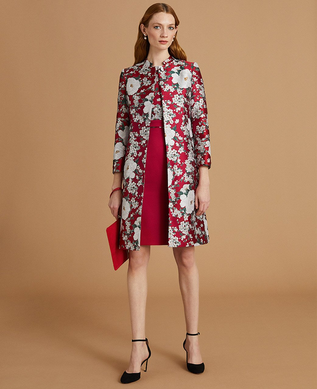 Red Shift Dress with White Floral Print and Matching Printed Coat