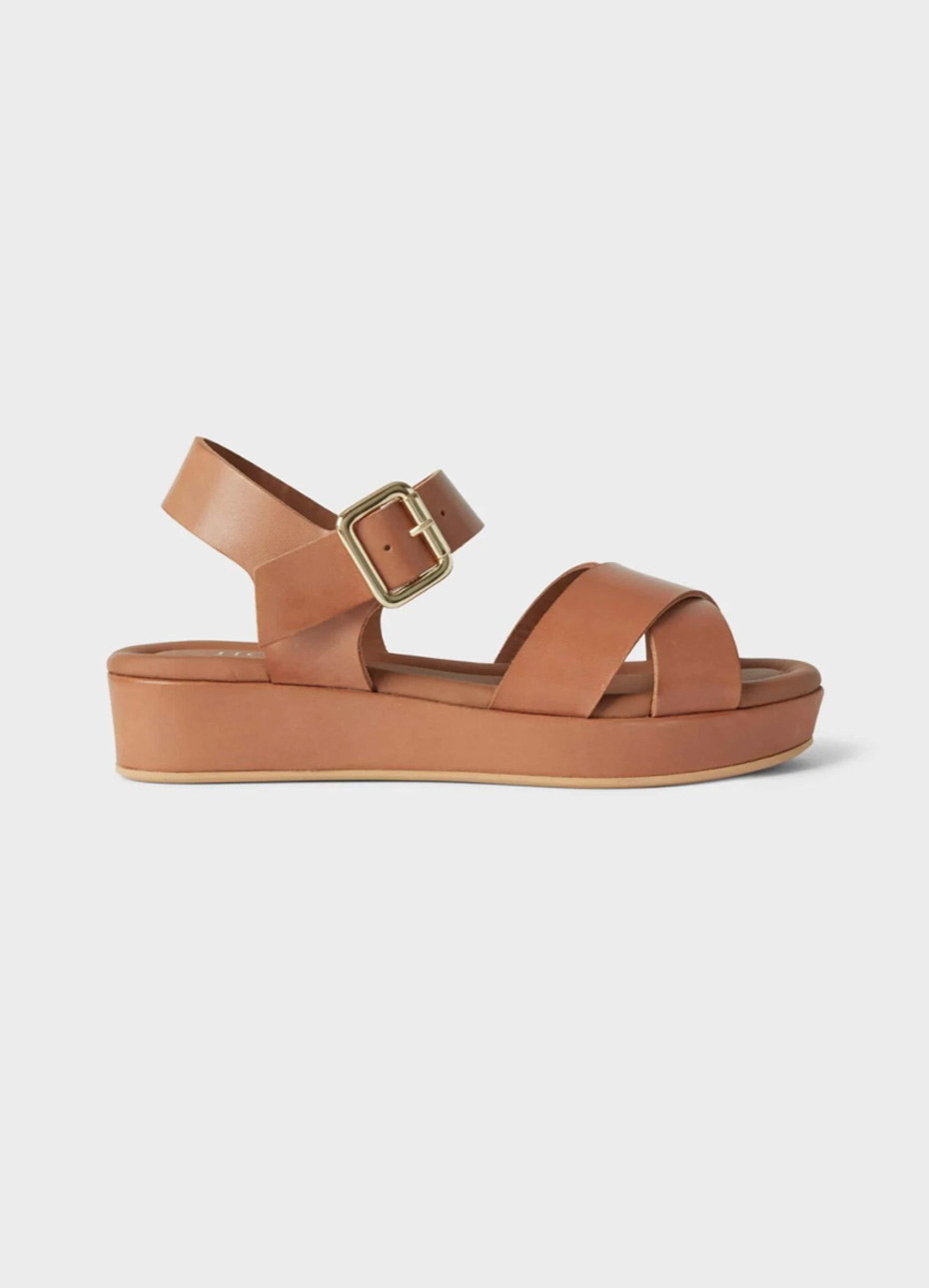 Brown leather flatform sandal from Hobbs.