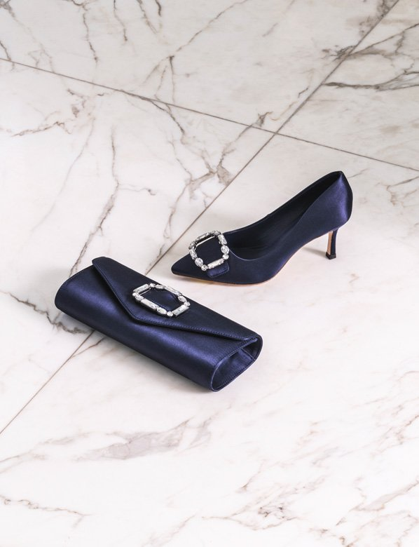 Matching Navy Embellished Court Shoe and Clutch Bag