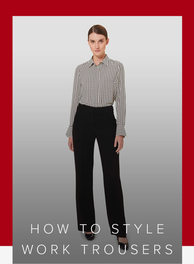 Long-sleeved work shirt with a dogtooth pattern paired with black wide leg trousers for women with black court shoes by Hobbs.