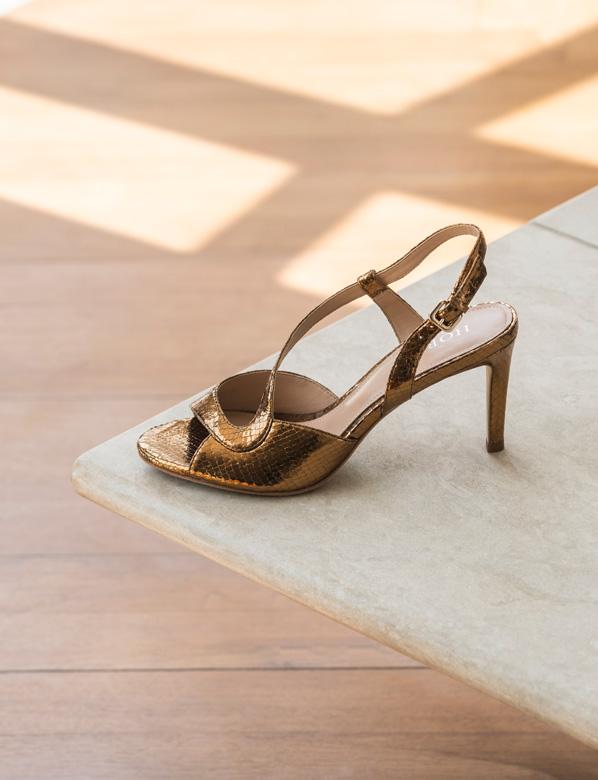 Gold Snake Print Sandal