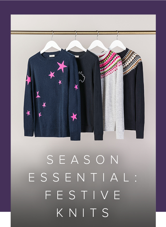 A rail of festive jumpers from Hobbs.