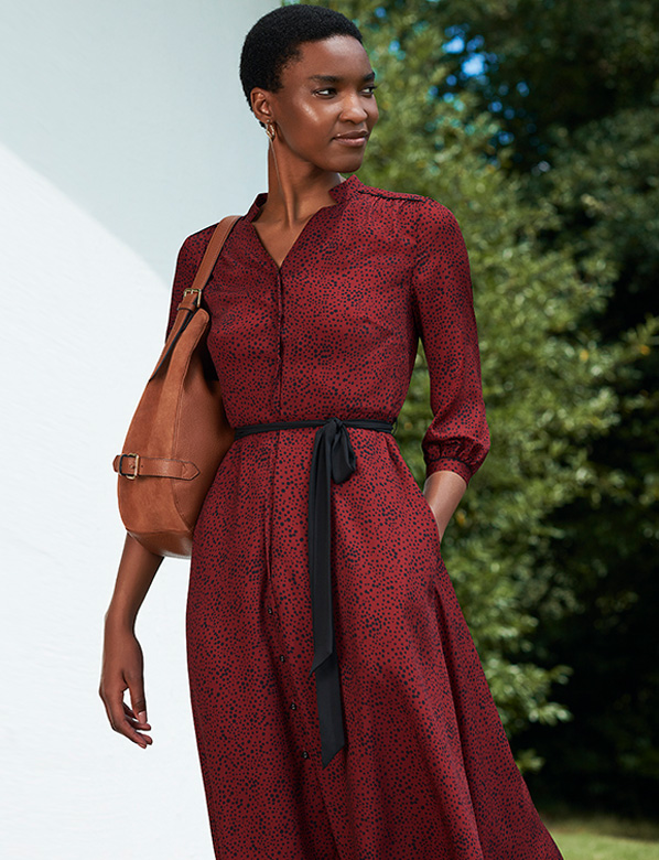 Dark Red Printed Shirt Dress