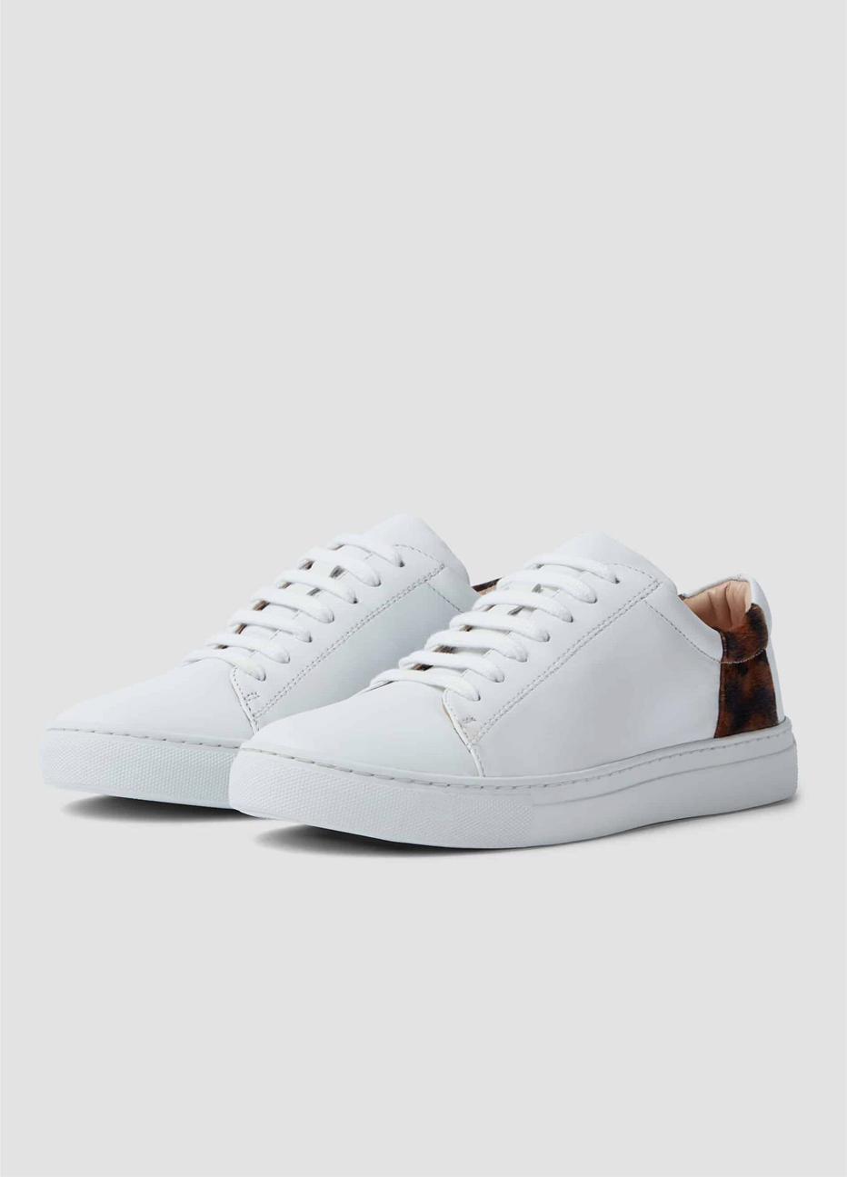Hobbs leather trainers for women in white.