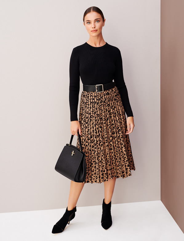 Leopard Skirt Black Knitted Dress