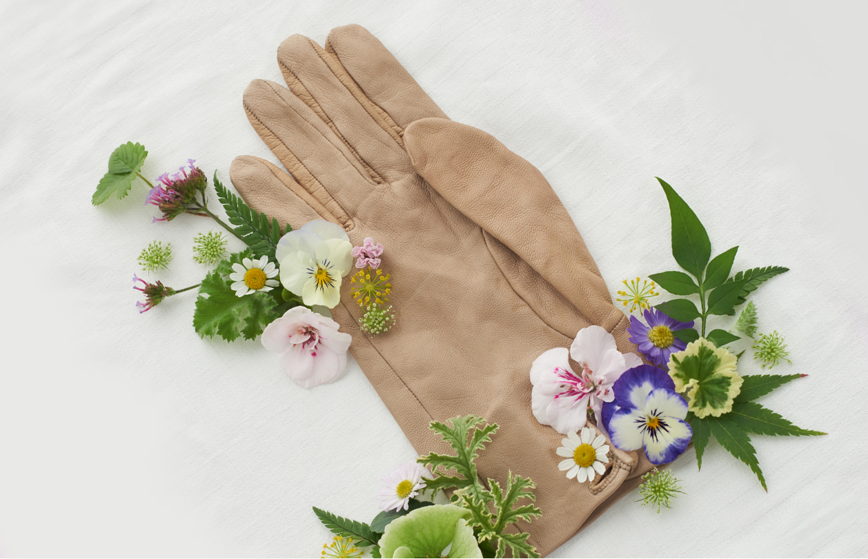 Bringing the outdoors inside wth wildflowers foraged from your garden, styled here with a tan leather gardening glove