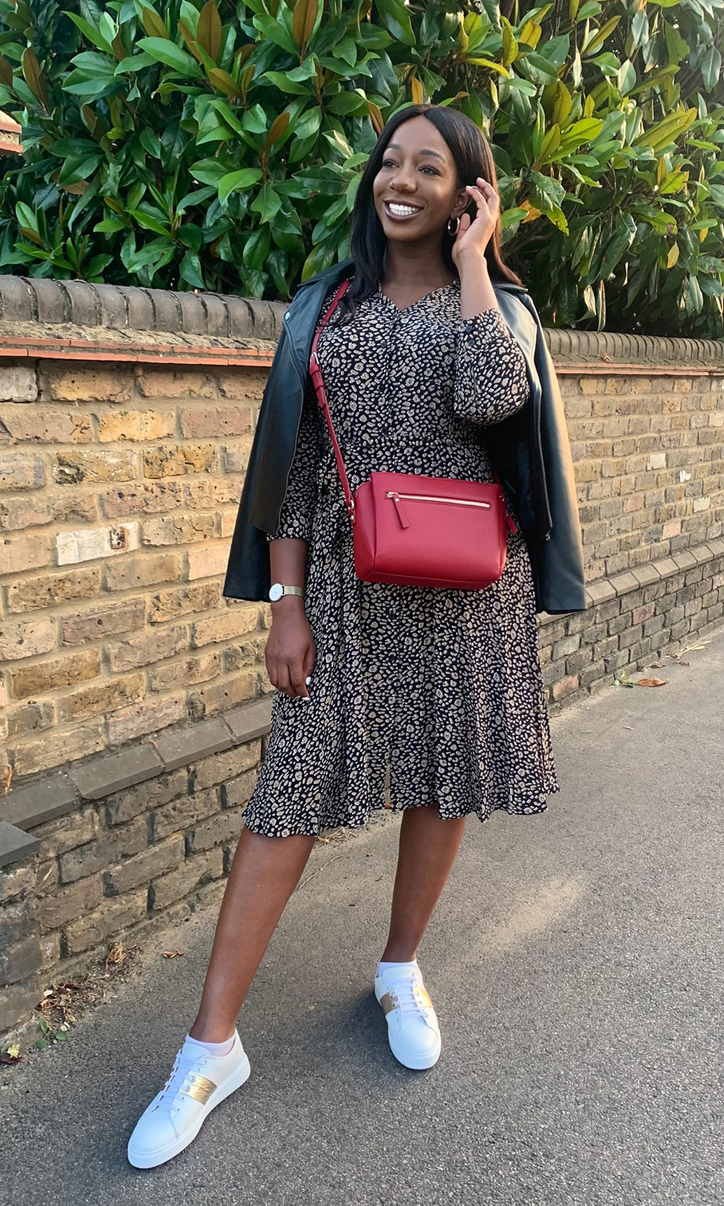 Jessica wears show how to casually style the Hobbs rosaline dress with trainers, cross body bag and leather jacket